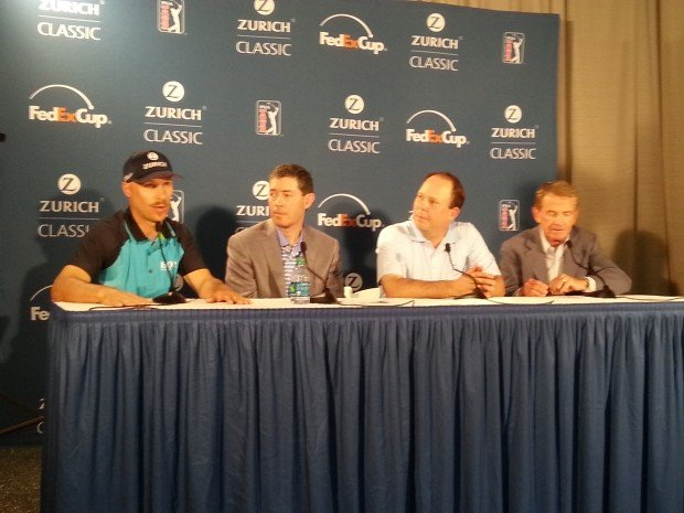 Zurich makes its announcement at an April 23, 2014 press conference. Pictured (left to right) are: PGA TOUR golfer Ben Crane, Zurich North America Commercial CEO Mike Foley, St. Bernard Project CEO Zack Rosenburg, and PGA TOUR Commissioner Tim Finchem.