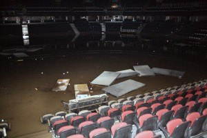 Flood waters rose to the 10th row in the Calgary Saddledome Credit: AP Photo/ Calgary