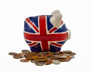 British Piggy Bank with coins