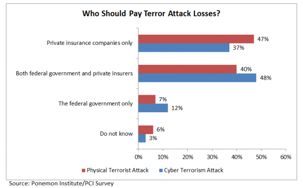 47% of IT security executives across various industries surveyed by Ponemon Institute for the Property Casualty Insurers Association of America  believe that private insurance companies alone should pay for worker injuries and property damage in the aftermath of a catastrophic physical terrorist attack.