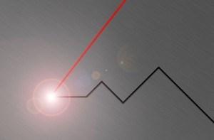 Laser beam-cuts metal