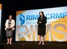 Mary Roth, CEO of RIMS (left) and RIMS President Julie Pemberton kicked off the annual meeting for risk management professionals.  It's estimated more than 10,000 are in attendance at the event, which ended Wednesday.