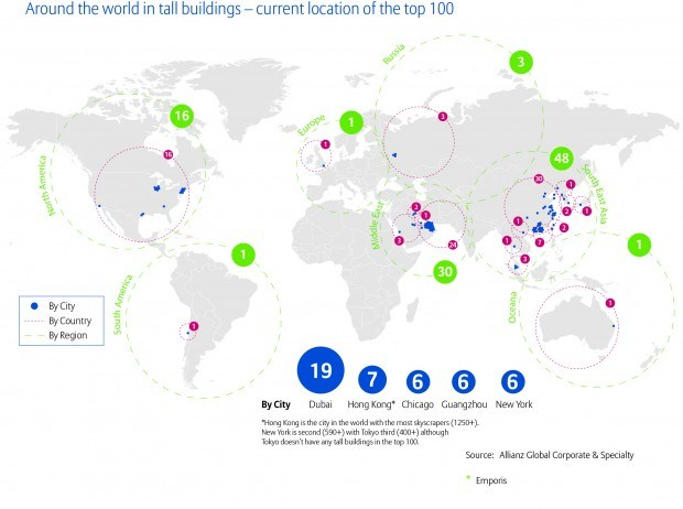 Tall buildings map - top 100 (1)