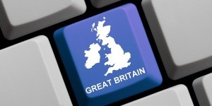 Outline of Great Britain on a blue computer Keyboard