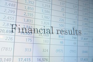 "Inscription ""Financial results"" on PC screen. Financial concept."