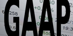 Inscription GAAP on PC screen. GAAP is Generally Accepted Accounting Principles.