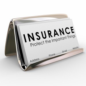 Insurance - Protect the Important Things words on business cards in a holder for a sales person or agent selling policies and coverage for auto, life, homeowner or medical