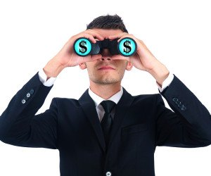 Isolated young business man search money