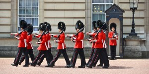 LONDON, UK - JUNE 12, 2014: British Royal guards perform the Cha