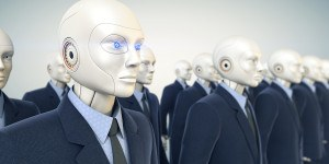 Robots dressed in business suit stands in row
