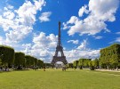 PARIS, FRANCE, August 5, 2014: View of the Eiffel tower in Paris. Paris beautiful destinations in Europe