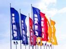 Samara, Russia - September 6, 2014: Ikea Flags Against Sky At Th