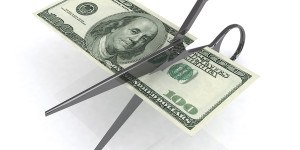 Scissors Cutting Dollar 3D Illustration