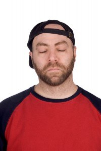 Sleeping Male Baseball Fan