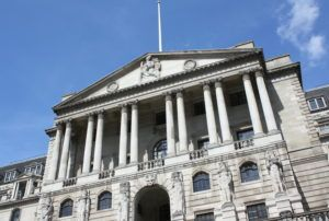 London, England - August 21st, 2014: The Bank of England in Central London. Founded in 1694, the bank's stated mission is to promote the good of the people of the United Kingdom by maintaining monetary and financial stability.