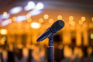 Wireless Microphone Stand On The Stage Venue With Blur Bokeh Bac