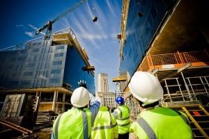 Construction, construction worker, hard hat, crane, building