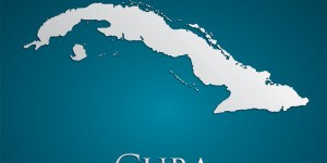 vector Cuba Map card paper on blue background, high detailed