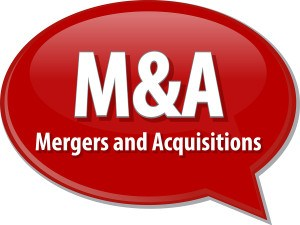 word speech bubble illustration of business acronym term M&A Mer