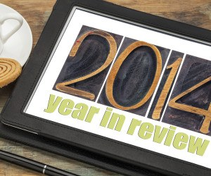 2014 year in review - text in letterpress wood type on a digital