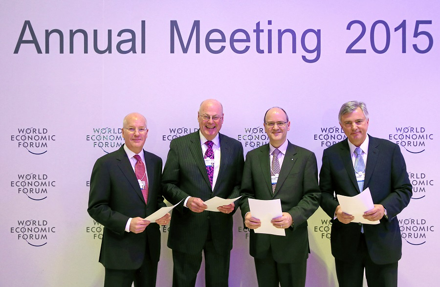 Industry heavyweights announced the MVI collaboration during the World Economic Forum's annual gathering at Davos Switzerland in January. Pictured here are: Daniel S. Glaser, President and CEO of Marsh & McLennan Companies; Robert S. Miller, Non-Executive Chair of the Board of American International Group, Inc., Michael Kerner, CEO General Insurance at Zurich Insurance Group and Alexander S. Moczarski, President and CEO of Guy Carpenter & Company and Chair of Marsh & McLennan International. WORLD ECONOMIC FORUM/swiss-image.ch/Photo Moritz Hager